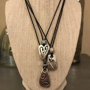 Brighton Triple Strand Silver Pendant Necklace